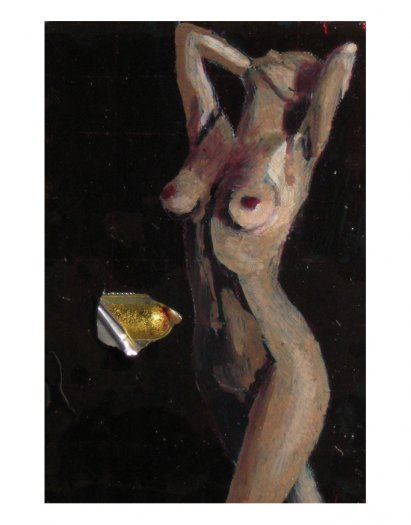 After the Shower, 2005. Oil on aluminium pill packet with empty, painted capsules coated in gold leaf. Cast in fibreglass on perspex. 17 x 19.5cm.