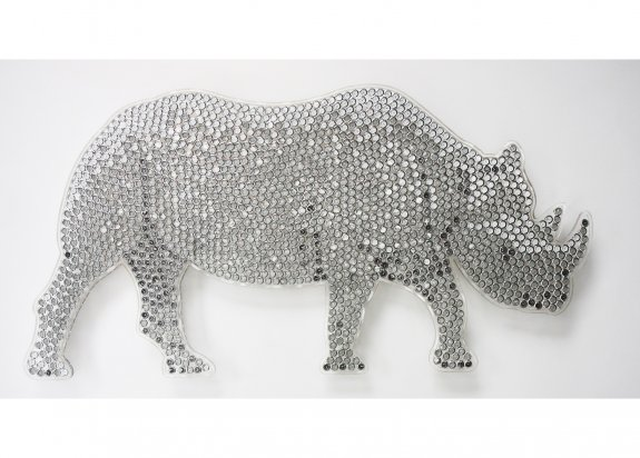 Black Rhino, 2009. Watches in resin on perspex. 159 x 81cm.