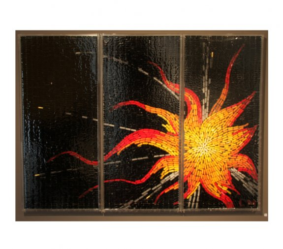 Explosion, 2008. Oil and gold leaf on capsules in resin on perspex. 202 x 86cm.