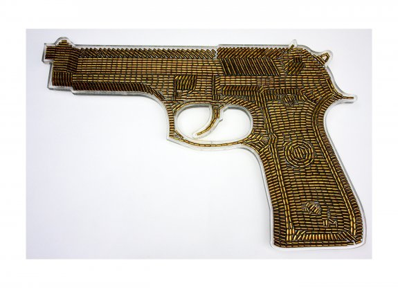 Golden Gun I, 2009. Oil on empty bullet shells in resin on perspex. 125 x 80cm.