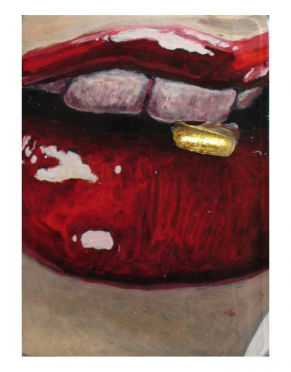 Lip Gloss II, 2005. Oil on aluminium pill packet with empty, painted capsules coated in gold leaf. Cast in fibreglass on perspex. 17 x 19.5cm.