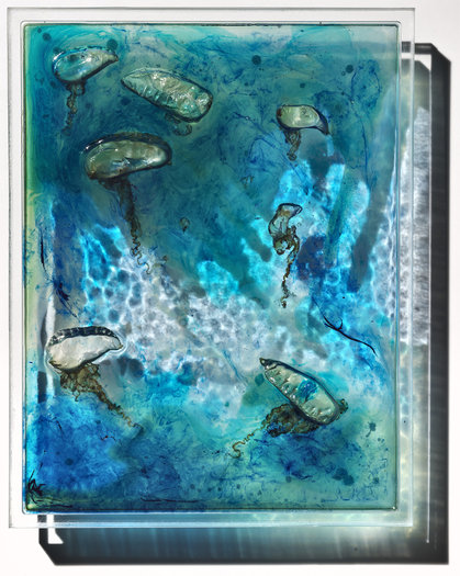 Noreaster, 2015. Bluebottles, pigment and phosphorescent powder in resin on perspex.  25 x 32cm.