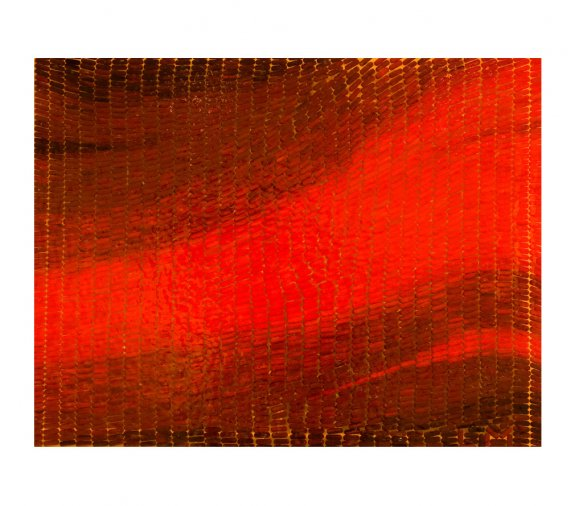 Red Abstract, 2008. Oil on capsules in resin on perspex. 202 x 86cm.