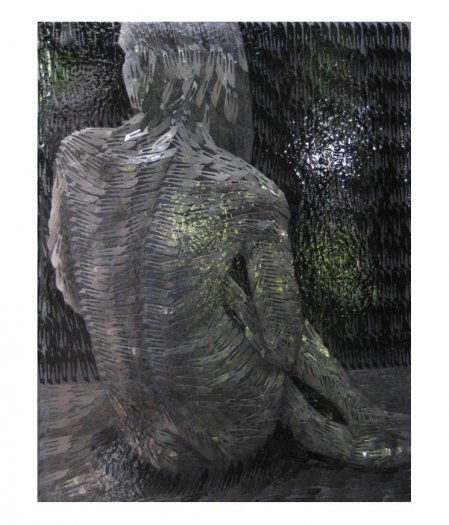 Seated Nude, 2007. Oil on scalpel blades in resin on perspex. 64 x 82cm.
