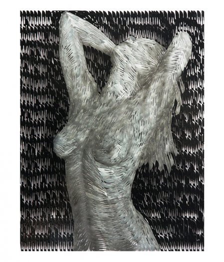 Woman Bathing, Oil on surgical scalpel blades in resin on perspex. 64 x 82cm.