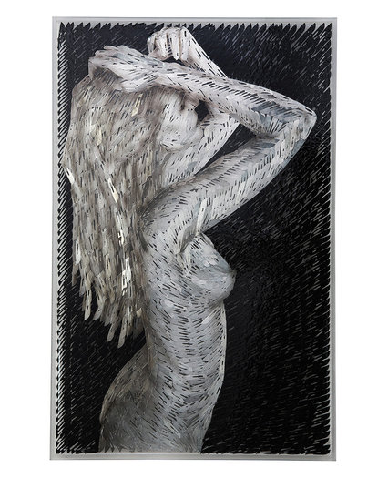 Woman brushing her hair, 2012. Oil on surgical scalpel blades in resin on Perspex. 100 x 64cm.